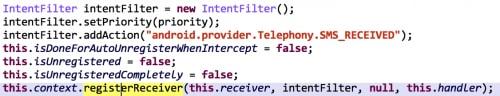 Figure 2. EgamePay registers a receiver for SMS