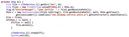 Figure 7.  Some of the JoloPay code is invoked by DEX dynamic loading and reflection