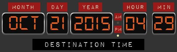 back to the future time machine date