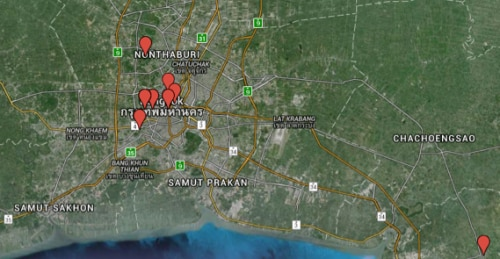 Figure 9 Map Showing GeoIP Locations of Compromised Hosts Grouped in the Bangkok Metropolitan Area