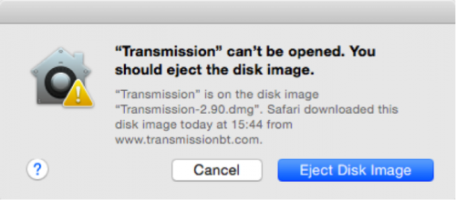 Transmission 2.90 KeRanger ransomware warning