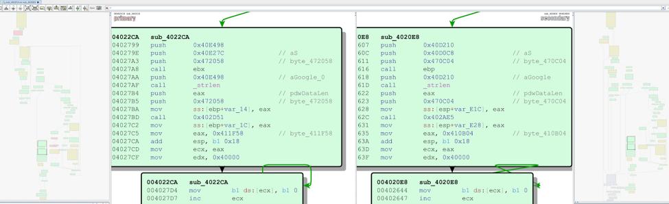 図5:URLの作成を担うコード ブロックの比較