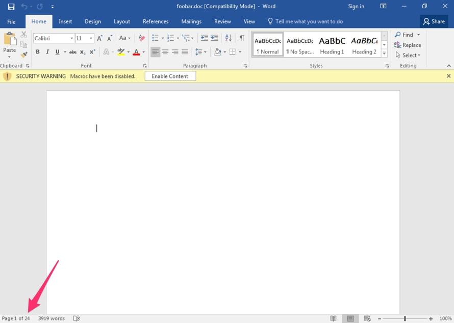 図 17: 11 月 30 日以降のバージョンが 24 ページの空白コンテンツを表示しているところ