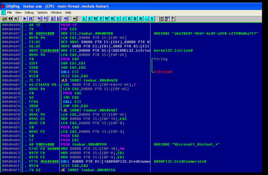 図 27: Internet Explorer に格納された認証情報にアクセスするペイロードのコード