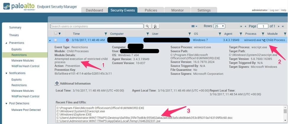 図 34: Traps Enterprise Service Manager (ESM) がブロックしたマルウェアとその制限内容についての詳細画面