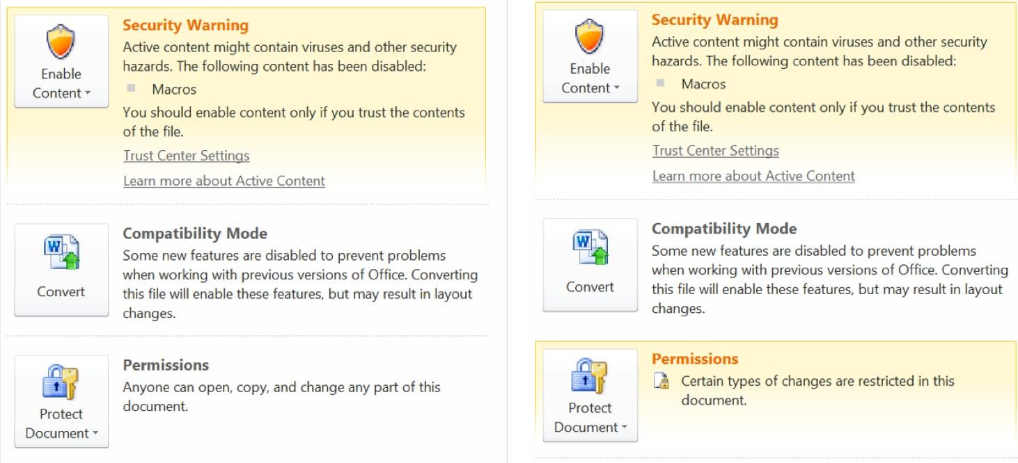 図 19: 初期バージョンでは Word 文書の許可設定がない (左) がより最近のバージョンでは許可設定が追加されている (右)