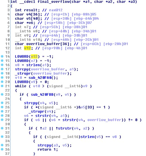 8 オーバーフローするバッファをv4にコピーするコードをIDAで表示