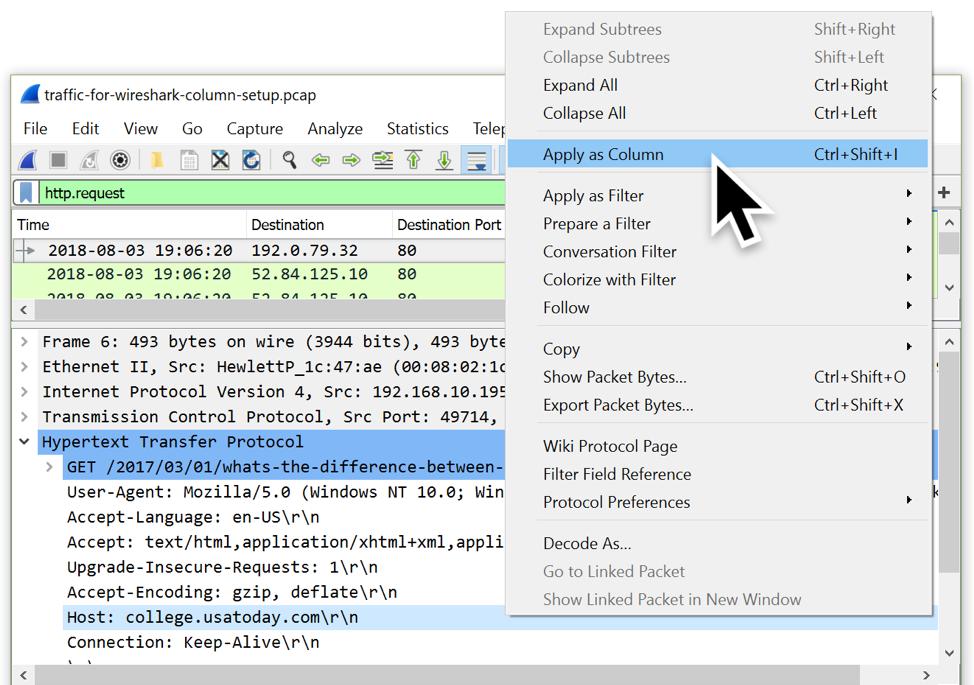 Customizing Wireshark - Changing Your Column Display - Palo