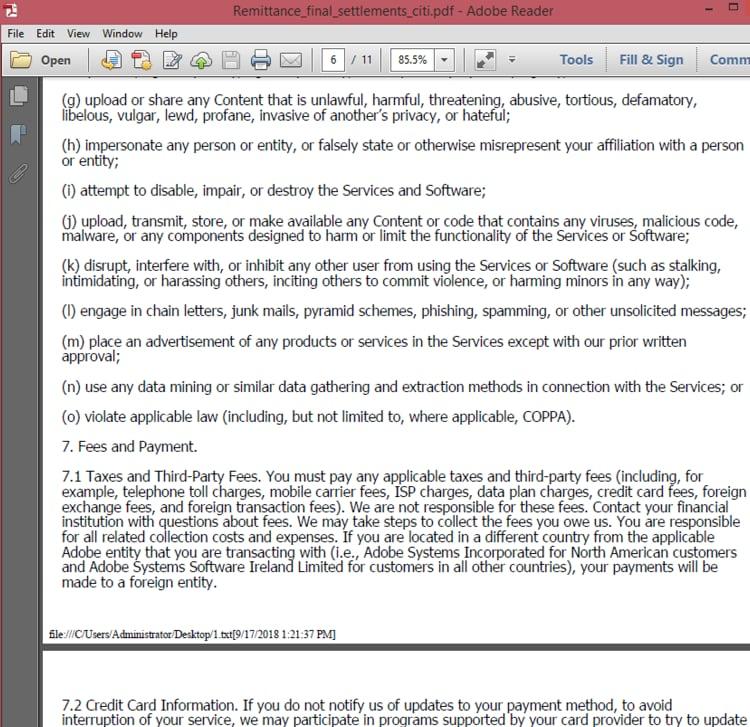 図5. PDFのページを埋めるために使用されているテキスト