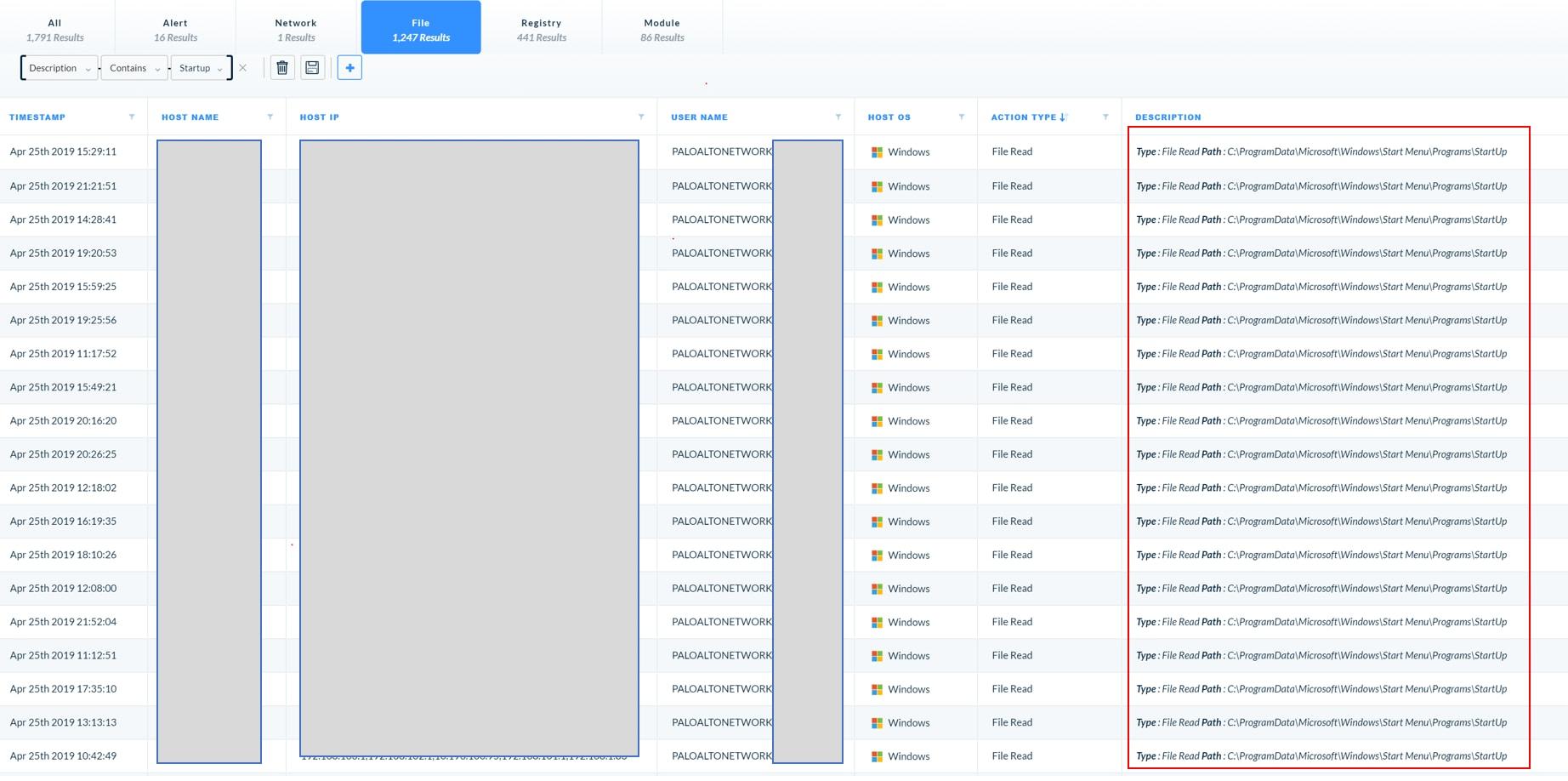 [File] タブを開いたところ。同じファイルが [StartUp] メニューから繰り返し読み出されている様子が確認できる