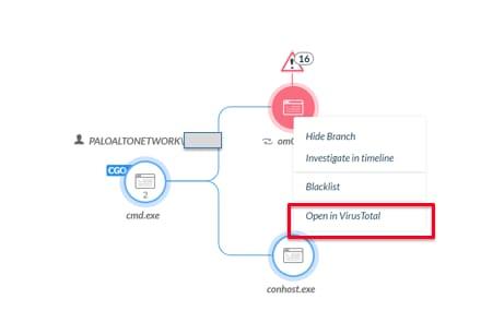 BIOCのアラートがマルウェアとして識別され、赤で表示されている。右クリックして Open in VirusTotal を選択している