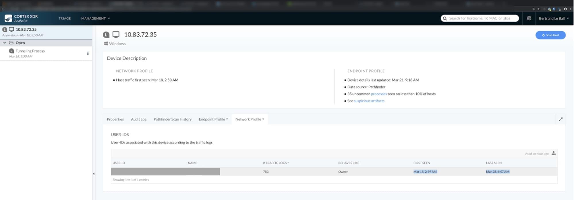 パロアルトネットワークス提供のCortex XDRを表示するスクリーンショット