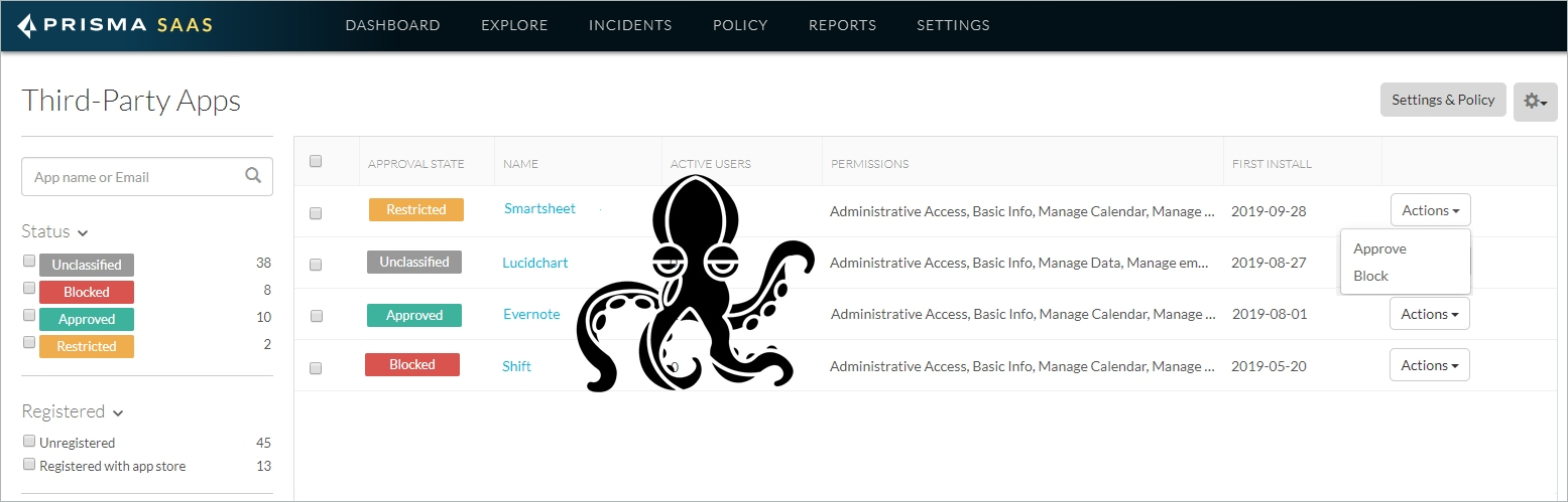This example shows the dashboard you can use with Prisma SaaS to manage your application ecosystem. Octopus not included.