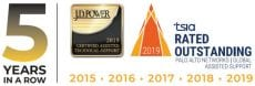 This image shows the emblems Palo Alto Networks earned from J.D. Power and TSIA for outstanding assisted support for five years in a row.
