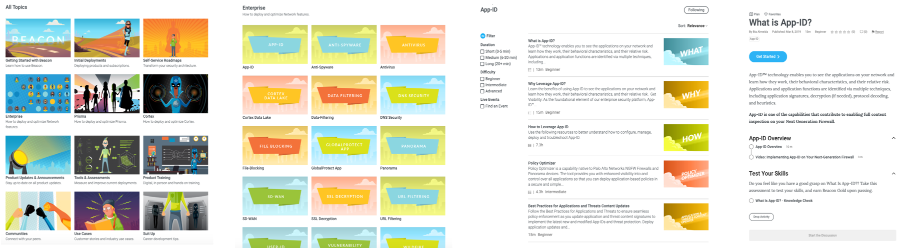 This set of screenshots shows the flow a user goes through as they select and follow a learning path, participating in activities that allow the user to earn Beacon Gold.
