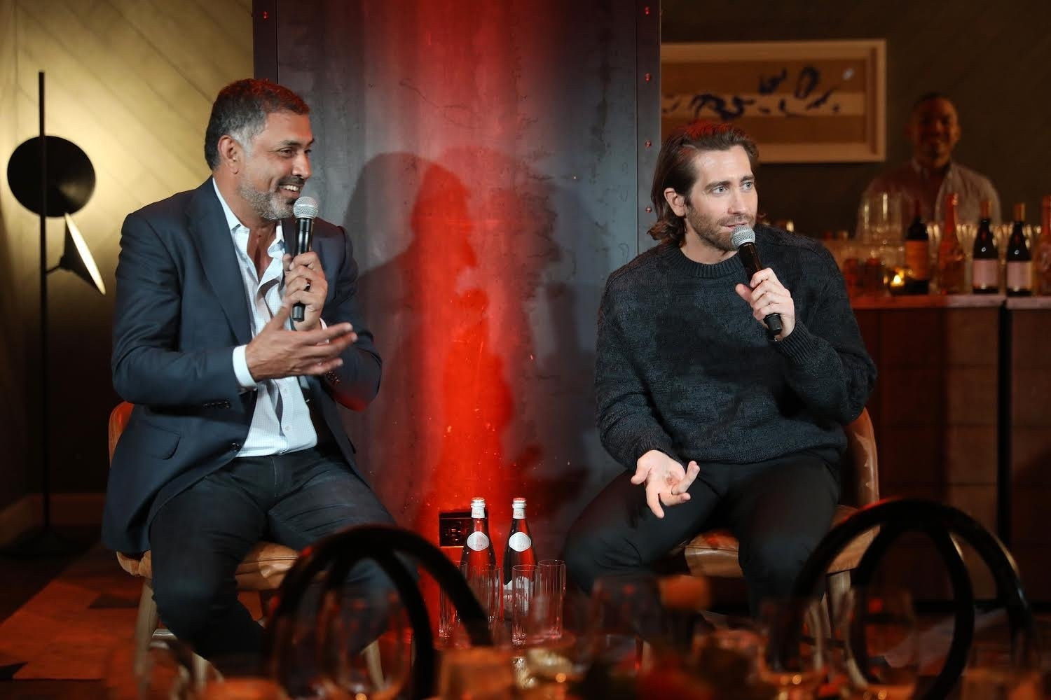 Palo Alto Networks CEO and chairman Nikesh Arora speaks with actor Jake Gyllenhaal at the Palo Alto Networks Experience.