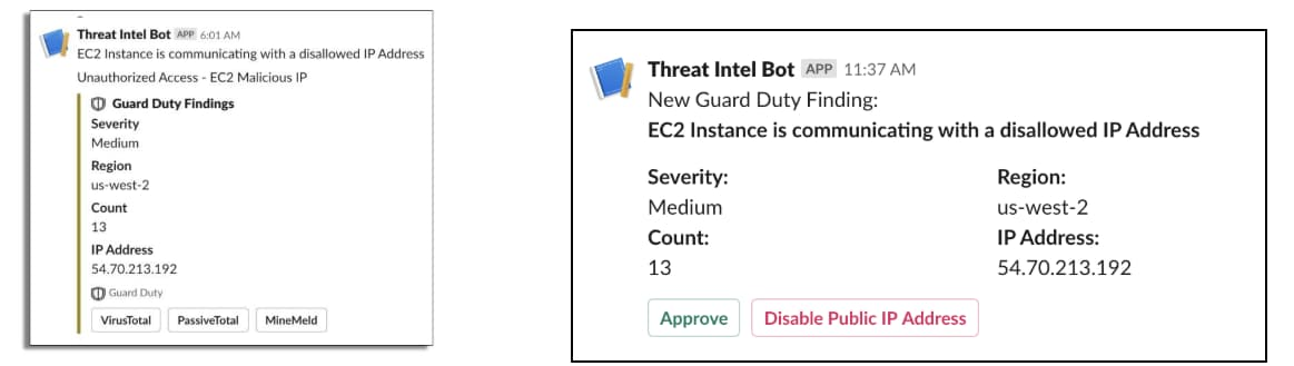 This screenshot shows examples of how a threat intelligence bot would appear when providing threat intelligence.