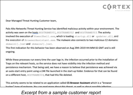 This screenshot shows an excerpt from a sample customer report, showing how Cortex XDR Managed Threat Hunting customers would receive information about the findings of an investigation.
