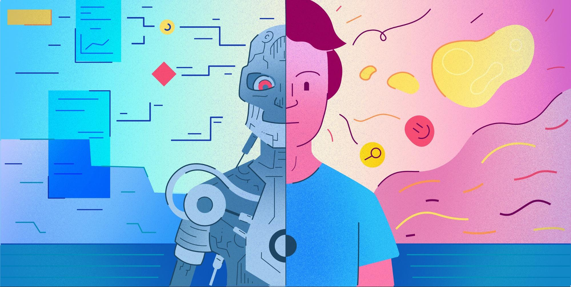 This conceptual illustration shows the combination of human intuition and AI, a robotic analyst on one side and a human analyst on the other.