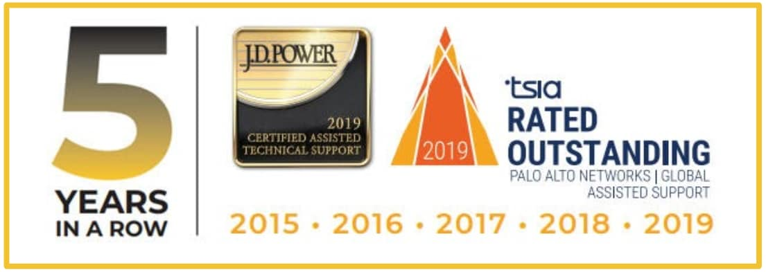 Palo Alto Networks has achieved certification for Rated Outstanding Assisted Support for five consecutive years from the J.D. Power Certified Assisted Technical Support Program. The image shows the five years from 2015-19, as well as the logos for J.D. Power and the Technology Services Industry Association, which jointly developed the certification.