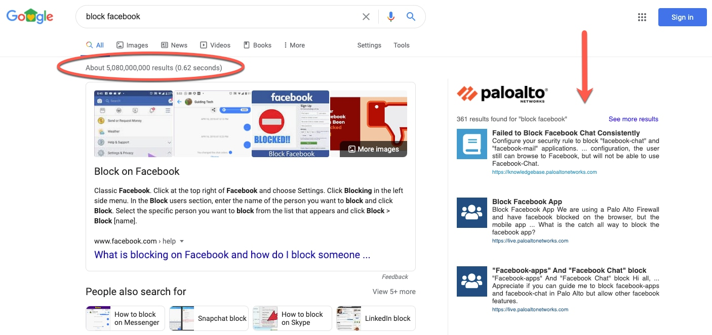 This screenshot illustrates the difference between standard Google search results and targeted results from the Palo Alto Networks Google Search Extension.