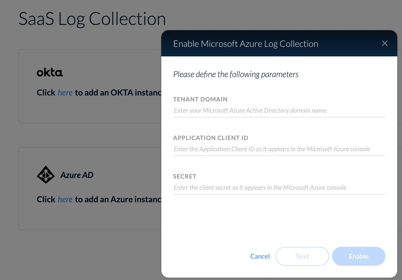 This screenshot shows the SaaS Log Collection View in Cortex XDR 2.4