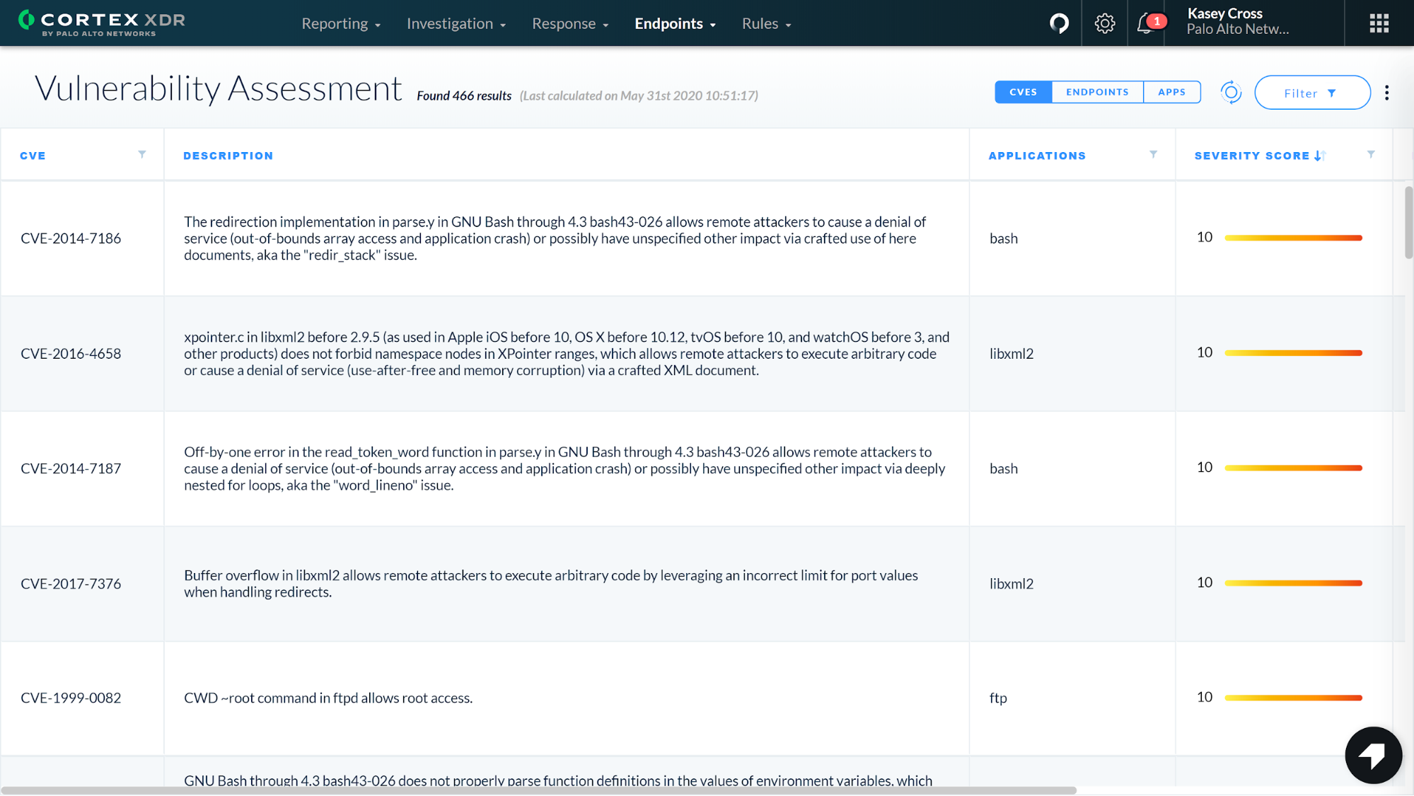 This screenshot shows the vulnerability assessment view in Cortex XDR 2.4