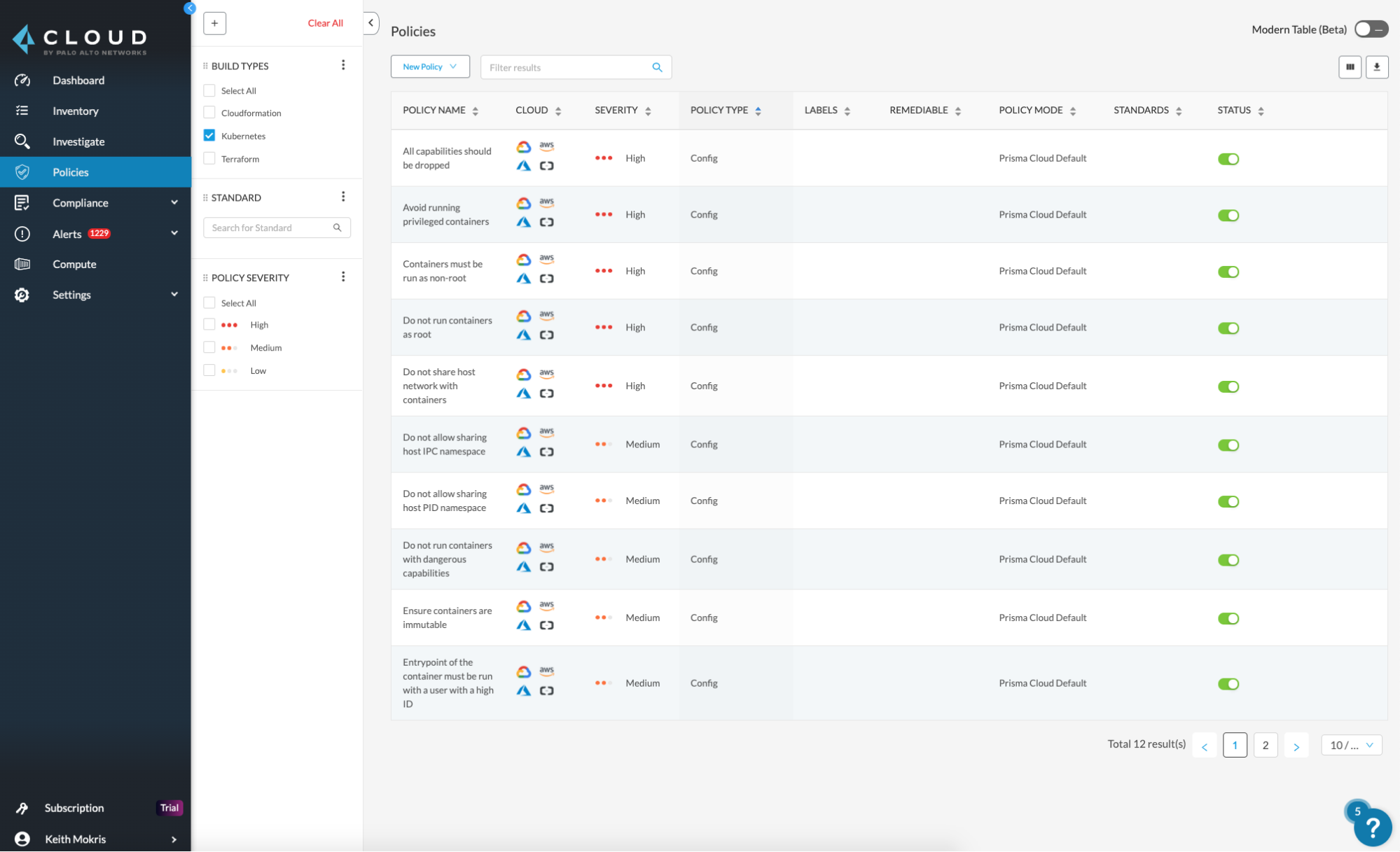 This screenshot shows an example of the Policy tab in Prisma Cloud, surfacing Kubernetes policies.