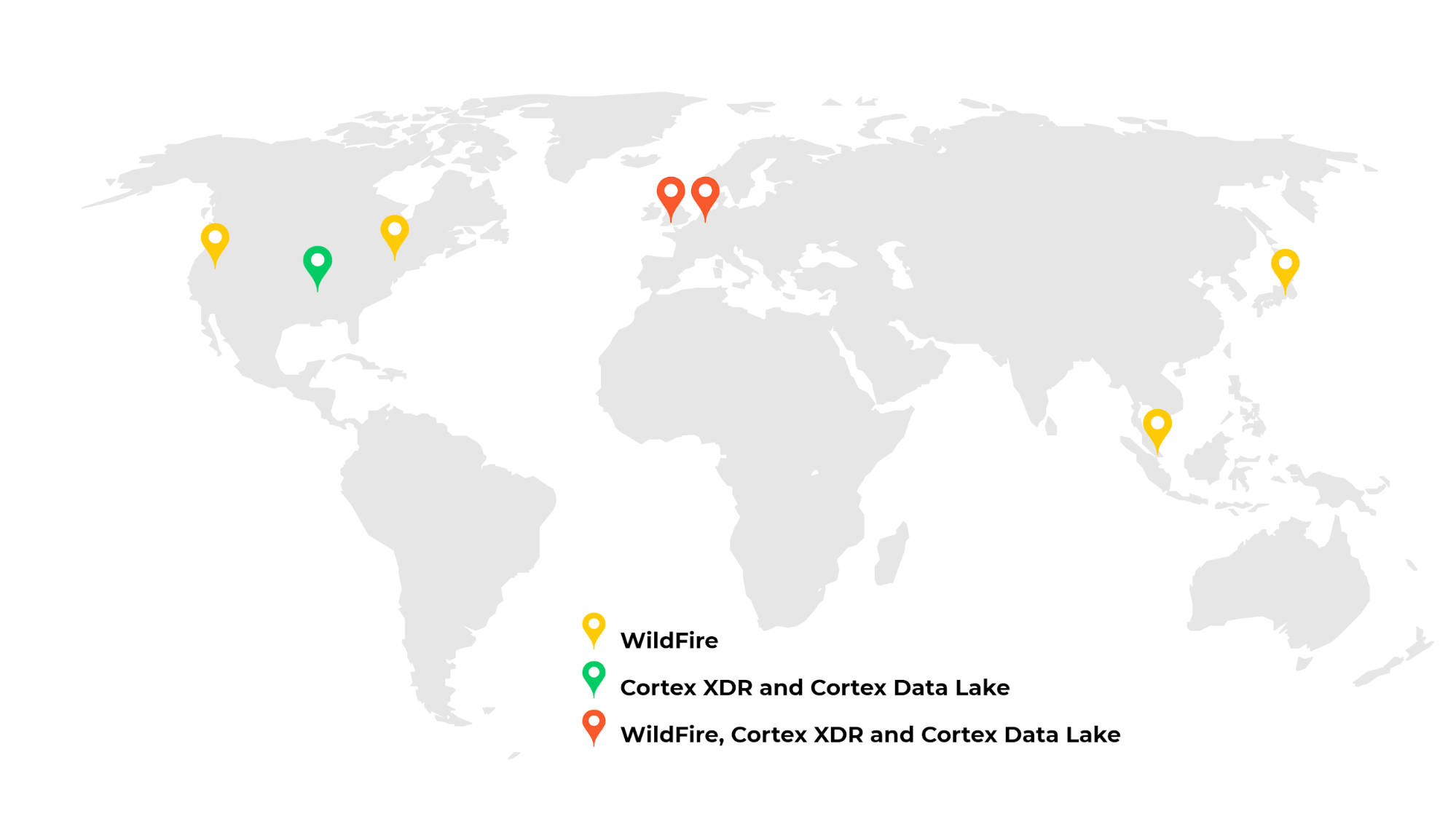 A new cloud hosting location in the UK augments locations in the United States, European Union and Asia. The map shows the locations of cloud hosting for WildFire, Cortex XDR and Cortex Data Lake.