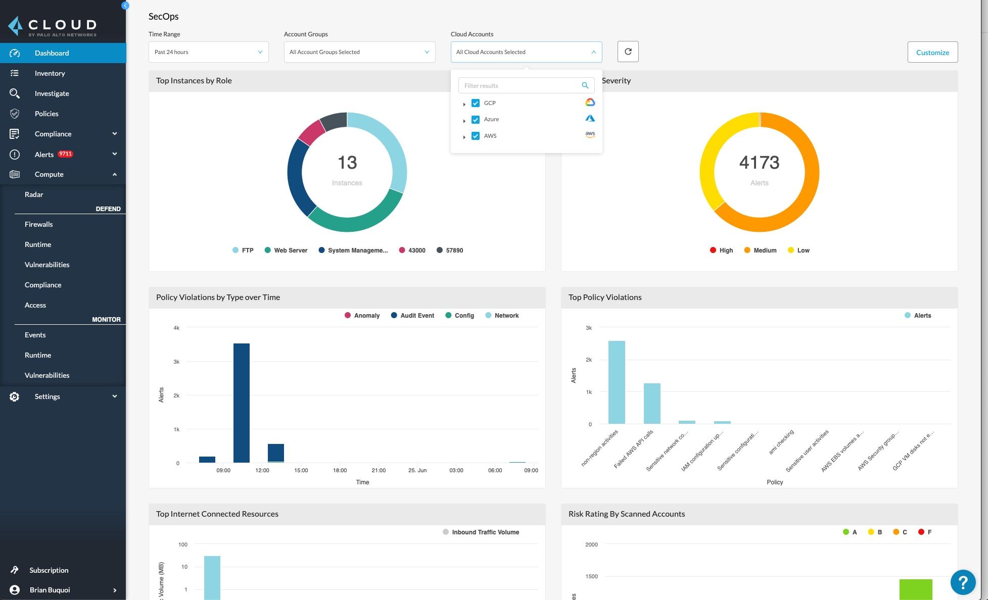 Multi-cloud dashboard in Prisma Cloud