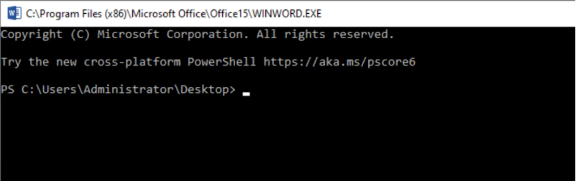 Image of how VBA-RunPE Spawns a PowerShell terminal disguised as Microsoft Word