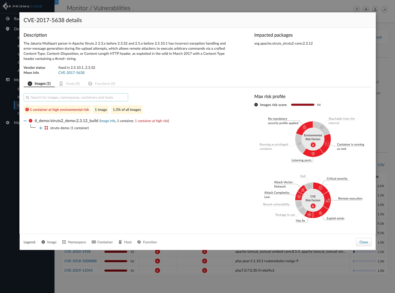 A screenshot showing how users of Prisma Cloud can see a specific CVE spanning each compute type in a single window with an improved risk tree.