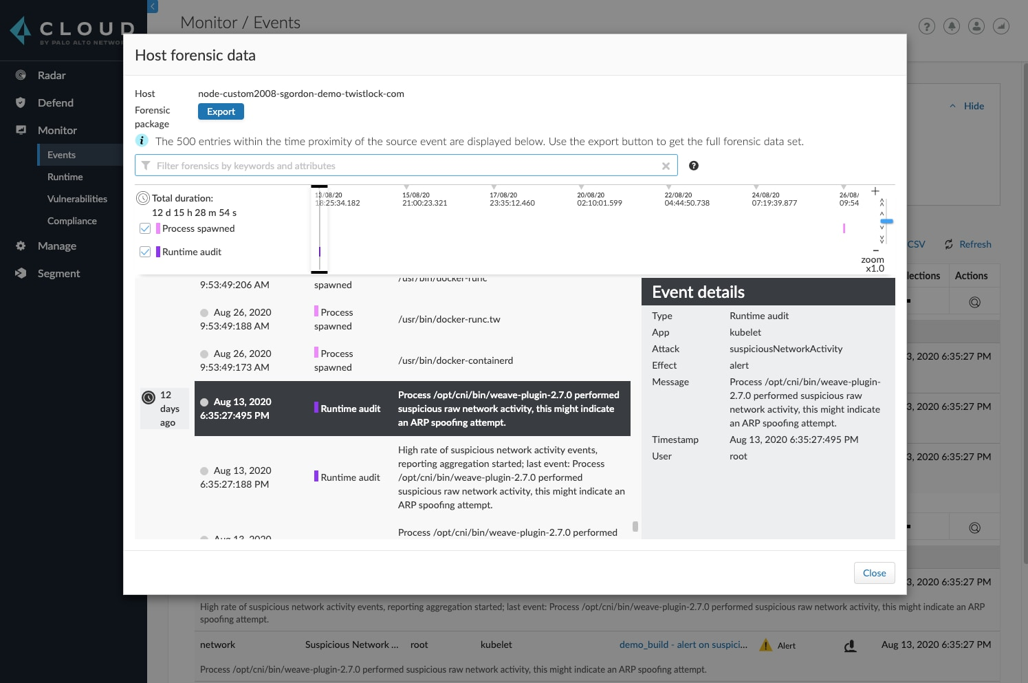 A timeline of Host forensics data in Prisma Cloud