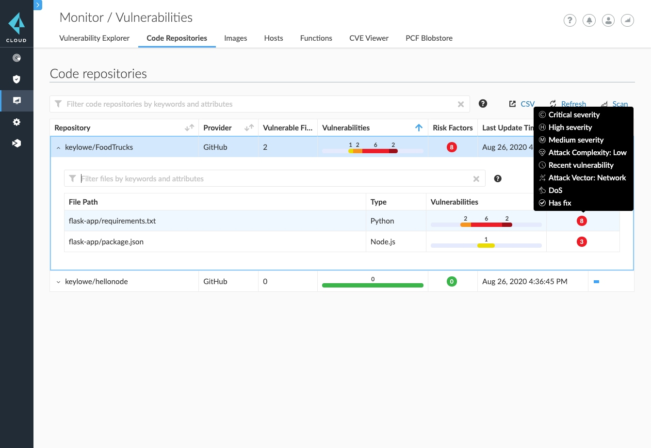 Code repository vulnerability alerts within Prisma Cloud