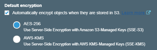 Encryption options for S3 buckets.