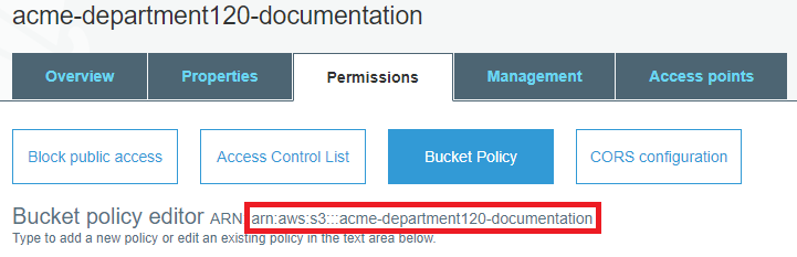 Permissions tab for an existing bucket, with the ARN highlighted.