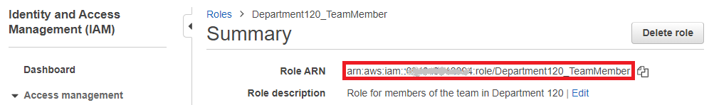 IAM role summary, with the role ARN highlighted.