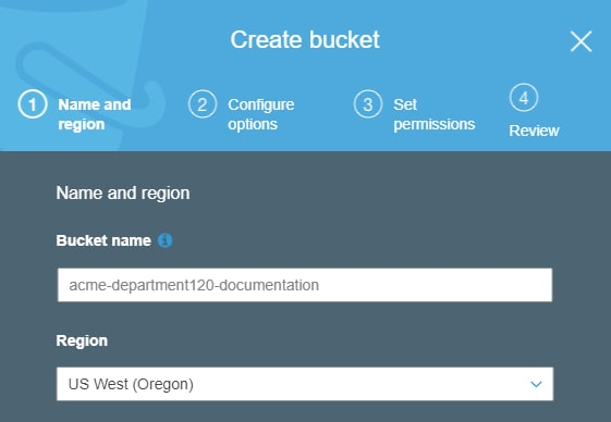 Entering bucket name and region during S3 bucket creation.