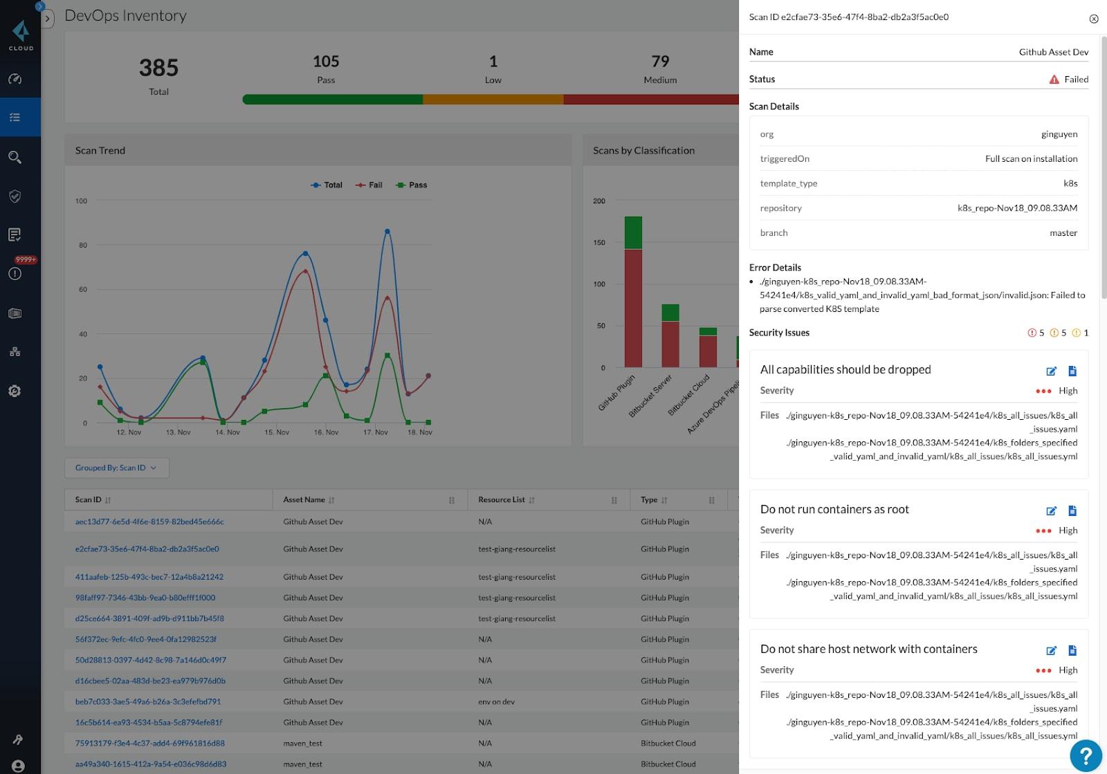 IaC scan result details in Prisma Cloud