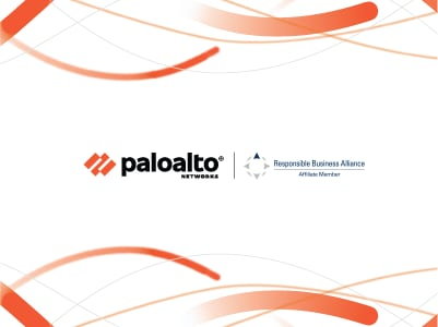 The Responsible Business Alliance logo is shown alongside the Palo Alto Networks logo