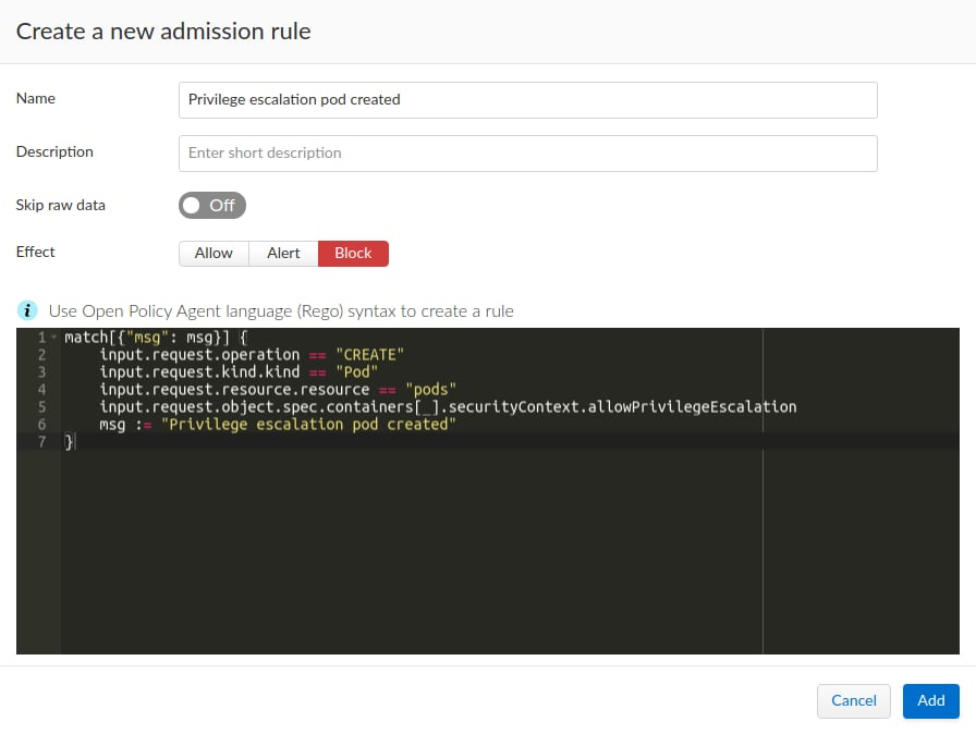 Creating a privilege escalation rule in Prisma Cloud using Rego syntax