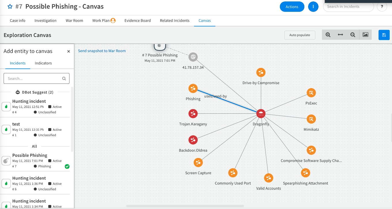 The Canvas view identifying possible phishing, showing an example of the power of threat intelligence.