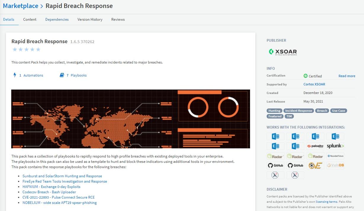 図7: Cortex XSOARのマーケットプレイスから入手できるプレイブック集「Rapid Breach Response」は、主要なセキュリティ侵害と攻撃に企業が対処する上で有用。